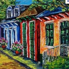 new orleans happy, color infused row houses (painting by B. Sasik)