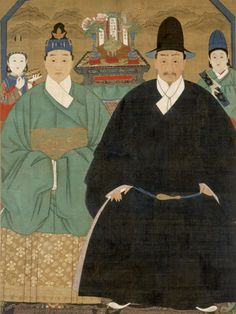 Portrait of Father Zhang Jimin and Mother Zhao - Late Ming or early Qing dynasty (17th century or later)