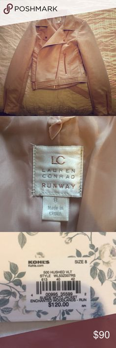 Blush suede jacket with rose gold hardware Never been worn. Suede jacket by LC runway. Picture doesn't do t justice, the blush color is gorgeous and the fit is so flattering. LC Lauren Conrad Jackets & Coats