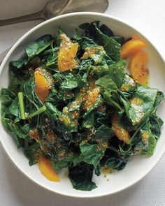 Kale with Oranges and Mustard Dressing is a bright veggie side #Thanksgiving