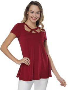 Women's Summer Basic Criss Cross Round Neck Tee Tops Flared Casual Loose Short Sleeve T Shirt Swing Design, Red Flare, One Piece Bikini, Online Shopping For Women, Evening Dresses, Summer Dresses, Beautiful Outfits, Fashion Dresses, Tunic Tops