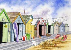Peter Bowen - Beach Huts #2 - watercolor