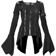 Gothic top for women, detailed with fake-leather applications, drawstrings and long flowing sleeves.