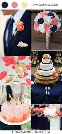 navy blue coral and gold wedding color ideas for 2017 trends