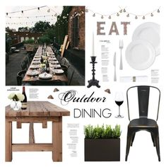 """""""Outdoor Dining"""" by xobali ❤ liked on Polyvore featuring interior, interiors, interior design, home, home decor, interior decorating, Flamant, Riedel, Serena & Lily and Deborah Rhodes"""