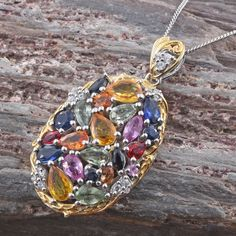 Multi Sapphire and Cambodian Zircon 14K Yellow Gold and Platinum Over Sterling Silver Cluster Pendant with Chain
