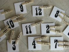 addition (or subtraction, multiplication, division) with clothes pins