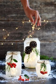 Holiday and Seasonal Celebrations Magical 5 minute DIY snow frosted mason jar decorations: FREE beautiful Thanksgiving & Christmas decor, gifts, winter wedding centerpieces, & great crafts! - A Piece of Rainbow Winter Wedding Centerpieces, Diy Centerpieces, Christmas Centerpieces, Christmas Decorations, Winter Christmas, Christmas Time, Xmas, Christmas Projects, Holiday Crafts