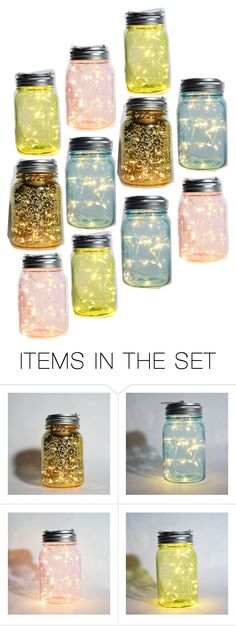 """Mason Jar Earth Day Fairy Lights"" by paperlanternstore ❤ liked on Polyvore featuring art"