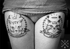 Cats portrait tattoo by Sita at 109 Tattooist