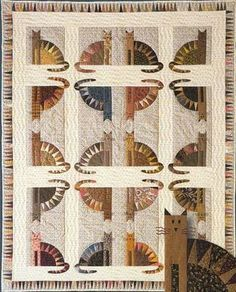 """Sawtooth Cats"" - Quilt by Janet Miller"