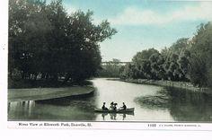 Danville, IL - River View at Ellsworth Park - Unused Pre Linen Postcard - Year?