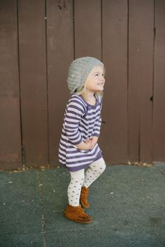 Striped dress, moccs and slouchy beanie // girl fashion