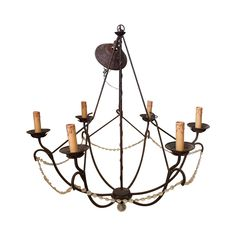 6-Arm Iron Chandelier - we could drape more crystal and drama this up - $200 bucks!!