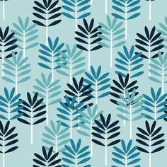 blue leaves fabric by heleenvanbuul on Spoonflower - custom fabric