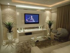 Diseño de interior line up haircut styles - Haircut Style Living Room Tv, Living Room Modern, Interior Design Living Room, Living Room Designs, Deco Tv, Style Salon, Ceiling Design, Design Case, Family Room