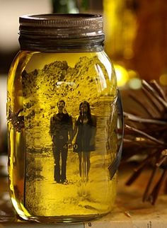 Super easy to do, get mason jar, black and white photo, olive oil, and lavender. Put photo in pour in the oil then add lavender for a nice scent, looks better with black and white photo. Close lid and enjoy!