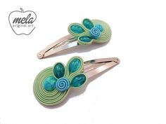 Hair clips with Soutache Soutache Earrings, Ribbon Hair Bows, Imitation Jewelry, Diy Hair Accessories, Homemade Jewelry, How To Make Beads, Shibori, Jewelry Crafts, Beaded Jewelry
