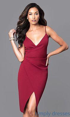 7010881b4 V-Neck Mock-Wrap Midi Party Dress with Front Slit