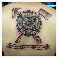 Esté Ems Tattoos, Body Art Tattoos, Tattoos For Guys, Cool Tattoos, Mens Full Sleeve Tattoo, Full Sleeve Tattoo Design, Sleeve Tattoos, Firefighter Logo, Volunteer Firefighter