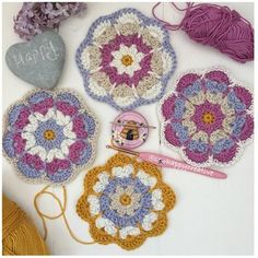 Looking for a quick make then our new crochet coaster pattern inspired by spring flowers is now list Crochet Coaster Pattern, Crochet Mandala Pattern, Crochet Doilies, Crochet Flowers, Manta Crochet, Knit Crochet, Double Crochet, Single Crochet, Christmas Rose