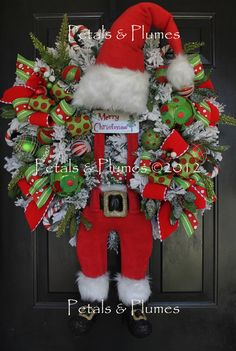 "MADE to ORDER Item-Christmas Wreath-""Suspender Santa""-Door Decoration. $415.00, via Etsy."