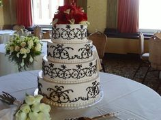 wedding cake, modern, buttercream, simple, elegant, black, white, hearts, piping