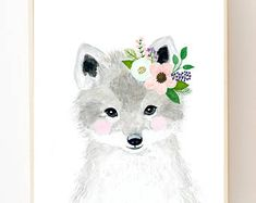 Watercolor fox in grey, blush and mint aqua color, Woodland nursery, Animal Paintings, watercolor animal, nursery prints, woodland animals