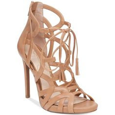 Jessica Simpson Racine Lace-Up High-Heel Gladiator Sandals ($110) ❤ liked on Polyvore featuring shoes, sandals, heels, buff, high heel gladiator sandals, strap sandals, strappy lace up sandals, lace up heel sandals and greek sandals