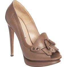 Drool-worthy and on trend. Nicholas Kirkwood peep-toe platform loafers with tassel detail in taupe, $995.