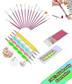 20pc Nail Brushes Art Manicure Pedicure Beauty Painting Polish Brush and Dotting Pen Tool Set for Natural, False, Acrylic and Gel Nails (Pink)