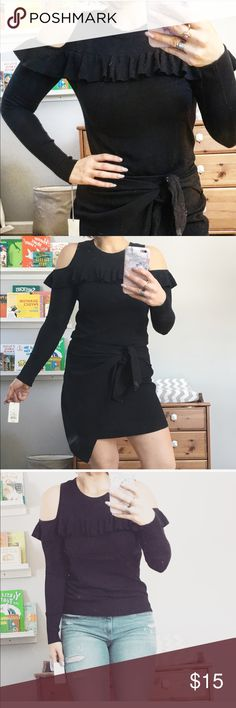 NWT A New Day black long sleeved cold shoulder top This top is from targets new clothing line. Black cools shoulder long sleeved top with ruffled details along the below the collar. Cute top to wear with jeans or tucked into a skirt for a more dressed up look. A New Day Sweaters Crew & Scoop Necks