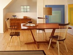 Thos Moser Edo dining table and Eastward chair