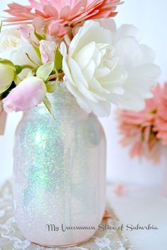 How to make DIY Mason Glitter Jars, My uncommon slice of suburbia I like the overall look and the colors, love her big photos on the side bar