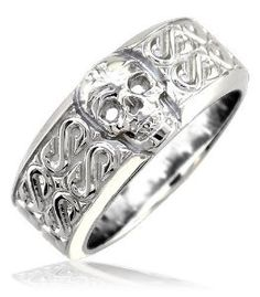 scary wedding time mens or ladies wide skull ring wedding band with s pattern - Skull Wedding Rings For Men