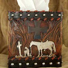 Praying Cowboy Tissue Box Cover
