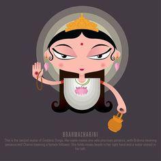 Raj Kamal's Contemporary Illustrations Of Durga Are Fantastic Durga Painting, Madhubani Painting, Kali Goddess, Mother Goddess, Indian Gods, Indian Art, Hindu Nav Varsh, Kali Puja, Durga Puja