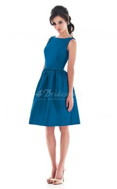 A-line Jewel Satin Knee-length Royal Blue Bridesmaid Dresses(BD185)