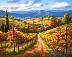Tepeler ve tuval üzerine Vigneti- Frescoes satış freskler, satış, duvar, sahte telif hakkı için resimler, dekapaj etkisi fresk