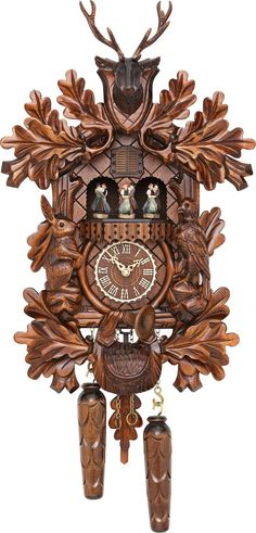 This beautiful quartz powered cuckoo clock is made by renowned Black Forest cuckoo clock manufacturer 'Trenkle Uhren'. Complete with rabbit, cuckoo, plesshorn a