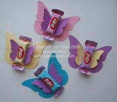Kit Kat Easter Butterfly Candy Favors made with the Big Shot Machine and the Beautiful Butterflies Die Easter Candy, Easter Treats, Holiday Crafts, Holiday Fun, Butterfly Birthday Party, Butterfly Party Favors, Candy Crafts, Paper Crafts, Candy Favors