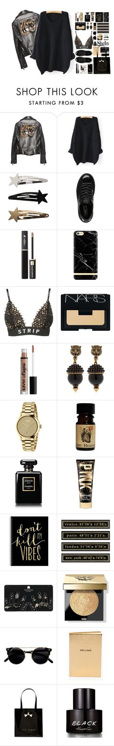 """""""karma is a btch yeah"""" by luizajarosa ❤ liked on Polyvore featuring Gucci, WithChic, Puma, Lancôme, Richmond & Finch, Alexander Wang, NARS Cosmetics, NYX, Chanel and Ballard Designs"""