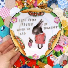 Shy Bunny and Baby Vintage Illustrated Plate