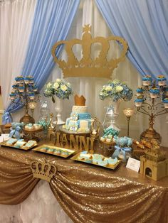 Prince baby shower party dessert table! See more party planning ideas at CatchMyParty.com!
