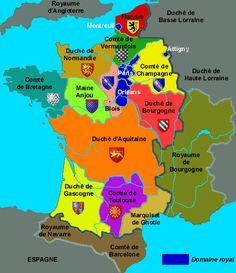 Carte de la France en 1180