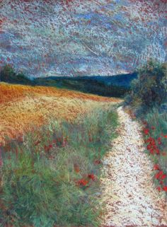 """""""Angel´s way"""" , St James Way in Navarra Pastel by Julia Patterson, Arizona, USA Available"""