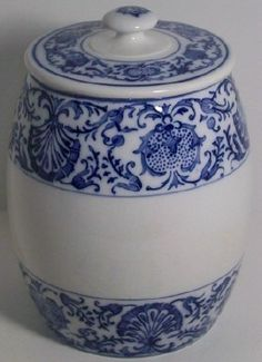 ANTIQUE VILLEROY & BOCH DRESDEN CANISTER JAR BLUE WHITE LID GERMANY ESTATE SALE | eBay