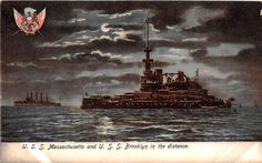 A91/ Ship Postcard Boat c'10 U.S.S. Brooklyn & Massachusetts Battleships…