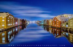 Trondheim night by Aziz_Nasuti Timber Buildings, City Buildings, Trondheim, Winter Night, World's Biggest, San Francisco Skyline, Norway, The Good Place, Skyscraper