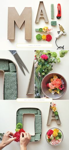 DIY blooming monogram perfect for wedding decor. Use silk or dried flowers in florist foam in the hollowed out craft letter. You also could make wine cork letters or use other decorative items to create a meaningful monogram for the happy couple. Cute Crafts, Diy And Crafts, Paper Crafts, Cardboard Crafts, Decor Crafts, Diy Paper, Home Decor, Diy Projects To Try, Craft Projects